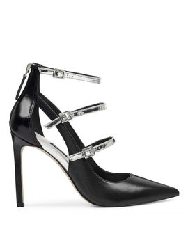 Tepinza Strappy Pointy Toe Pumps   Black Leather/ Silver Patent/ Black Patent by Nine West