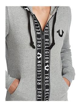 Womens Logo Tape Zip Up Hoodie by True Religion
