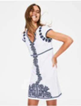Bea Linen Embroidered Dress by Boden