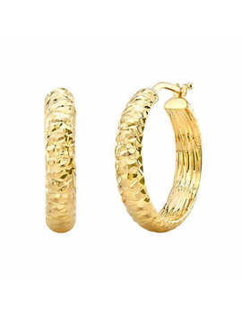 Diamond Cut Hoop Earrings In 14 Kt Yellow Gold by Costco