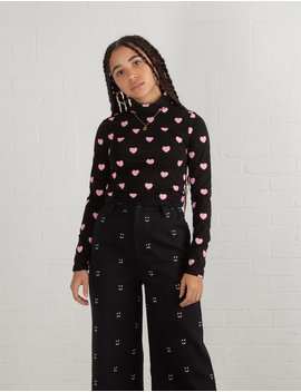 Lazy Oaf Pink Hearts Roll Neck Top by Lazy Oaf