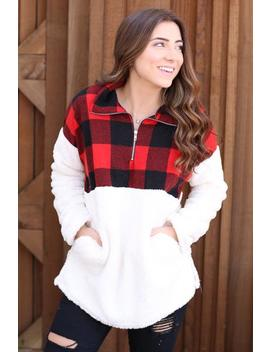 Winter Escape Pullover  Red, Black And Ivory by Hazel & Olive