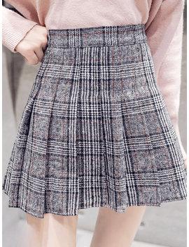 Woolen Plaid Pleated High Waist A Line Skirt by Newchic