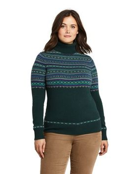 Womens Plus Size Cashmere Turtleneck Sweater by Lands' End