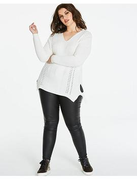 V Neck Textured Sweater by Simply Be