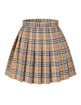 Girl's School Uniform Plaid Pleated Costumes Skirts (M, Yellow Mixed White) by Beautifulfashionlife