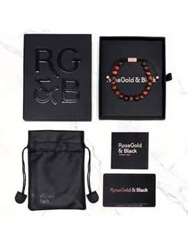 Black Collection   Grey Jasper Stone Bead Bracelet (6mm) by Rose Gold & Black