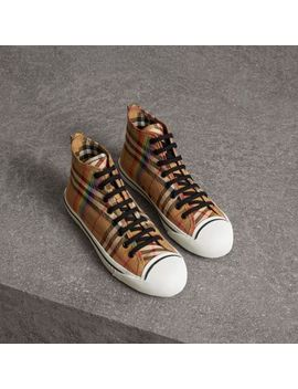 Rainbow Vintage Check High Top Sneakers by Burberry