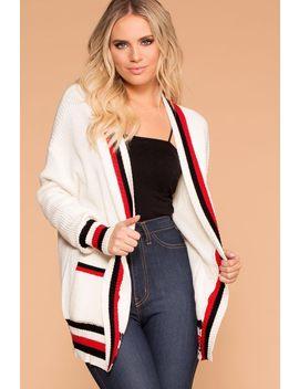 Walk The Line White Stripe Cardigan by Priceless