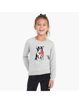 Girls' Frenchie With Bow Intarsia Sweater by J.Crew