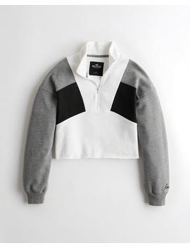 Cutoff Colorblock Half Zip Sweatshirt by Hollister
