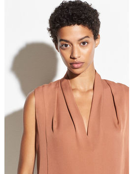 Silk Sleeveless Drape Neck Blouse by Vince