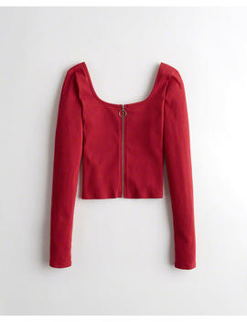Full Zip Square Neck Top by Hollister