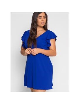 Plus Size Chic Flounce Sleeve Dress In Blue by Wet Seal