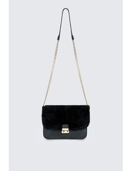 Fur And Metal Lock Shoulder Bag by Select