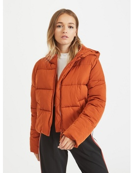 Rust Sporty Crop Puffer Coat by Miss Selfridge