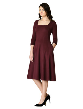 Square Neck Cotton Knit A Line Dress by Eshakti