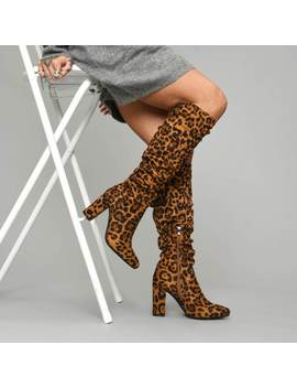Sal Leopard Rouched Boots by Koi Footwear