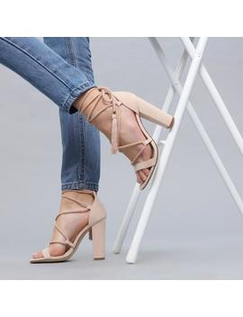 Rope And Tassel Lace Up Nude Suede Heels by Koi Footwear