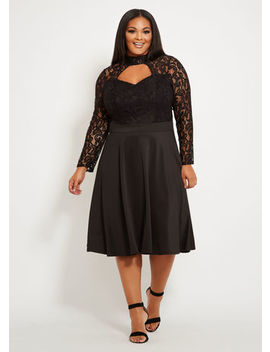 Tall Lace Skater Dress by Ashley Stewart