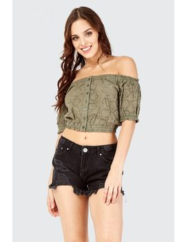 Broderie Button Bardot Crop Top by Select