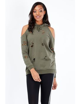 Distressed Cold Shoulder Hoodie by Select