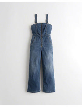 Wide Leg Denim Jumpsuit by Hollister