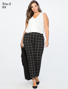 9 To 5 Windowpane Pant by Eloquii