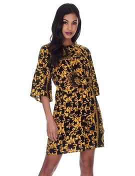 Black And Gold Patterned Shift Dress With Flared Sleeves by Ax Paris