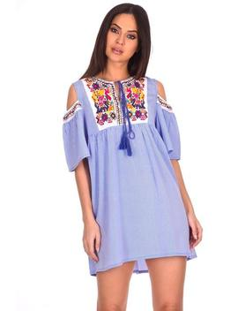 Blue Aztec Striped Cold Shoulder Dress by Ax Paris