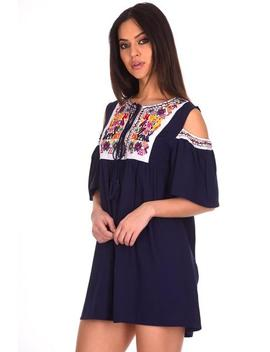 Navy Aztec Cold Shoulder Dress by Ax Paris