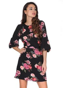 Black Floral Ruched Sleeve Dress by Ax Paris