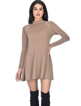 Camel Knitted Mini Swing Dress by Ax Paris
