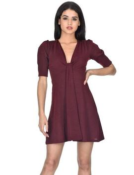 Wine Knitted Knot Front Dress by Ax Paris