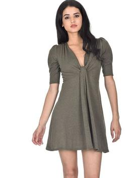 Khaki Knitted Knot Front Dress by Ax Paris
