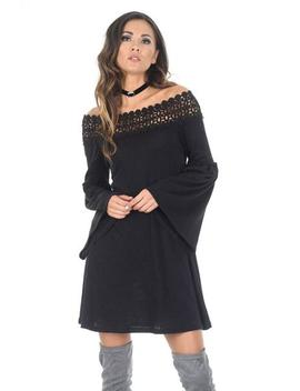 Black Flared Sleeve Swing Dress by Ax Paris