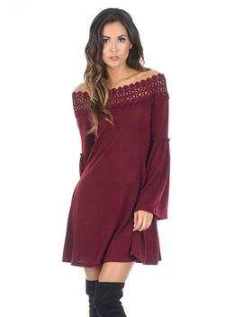 Wine Off The Shoulder Frill Swing Dress by Ax Paris