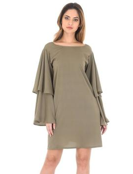 Khaki Wide Bell Sleeve Tunic by Ax Paris