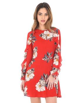 Red Floral Skater Dress With Frill Detail by Ax Paris