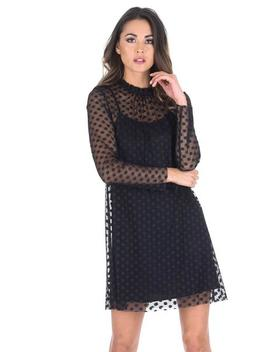 Black Polka Dot Mesh Dress by Ax Paris