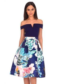 Navy 2 In 1 Multi Floral Dress by Ax Paris