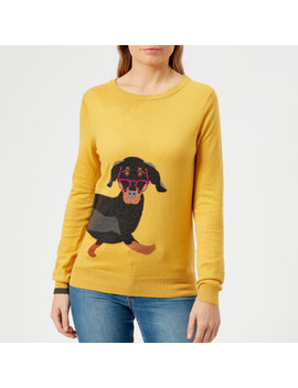 Joules Women's Miranda Sausage Dog Intarsia Jumper   Ochre by The Hut