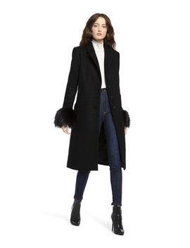 Jacoby Removable Fur Cuff Coat by Alice And Olivia