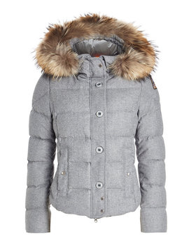 Virgin Wool Down Jacket With Fur Trimmed Hood by Parajumpers