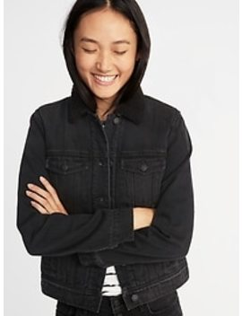 Sherpa Lined Black Denim Jacket For Women by Old Navy
