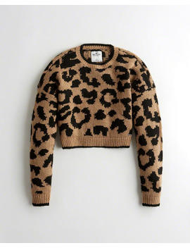 Crop Leopard Sweater by Hollister