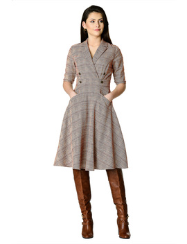 Notch Collar Glen Plaid Coat Style Dress by Eshakti