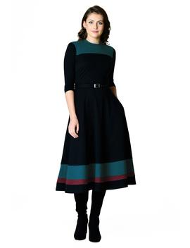 Colorblock Stripe Cotton Knit Belted Dress by Eshakti