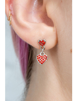 Red Double Heart Charm Earrings by Brandy Melville