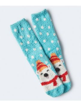 Polar Bear Fuzzy Crew Socks by Aeropostale